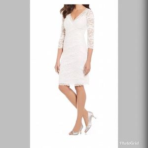 NWT Marina Women's White Tiered Lace Midi Dress
